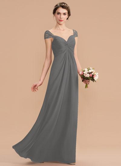 A-Line Sweetheart Floor-Length Chiffon Bridesmaid Dress With Ruffle Beading Sequins
