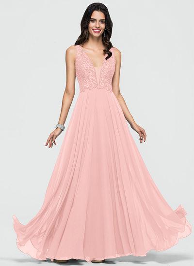Çan V yaka Uzun Etekli Şifon Mezuniyet Elbisesi Ile boncuklu kısım Payetler