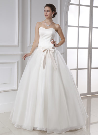 Ball-Gown Sweetheart Floor-Length Satin Organza Wedding Dress With Sash Bow(s)