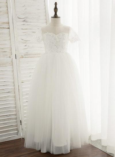 Plesové/Princesový Délka na zem Flower Girl Dress - Tyl/Krajka Krátké rukávy Scoop Neck S flitry