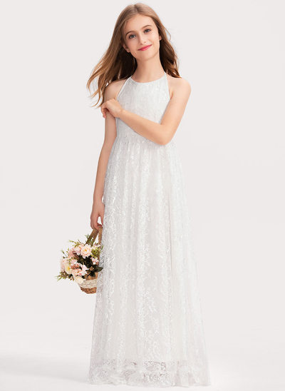 A-Line Halter Floor-Length Lace Junior Bridesmaid Dress With Bow(s)