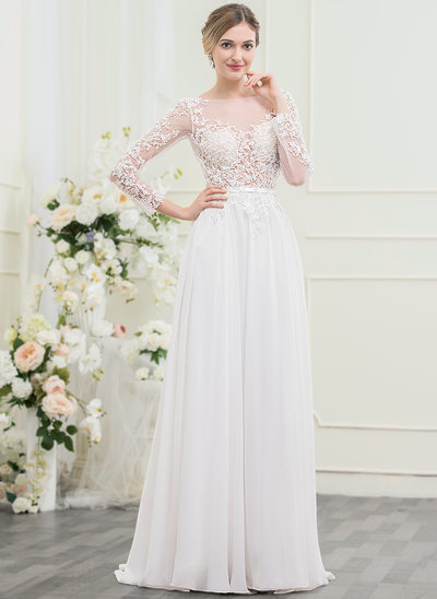 A-Line/Princess Scoop Neck Sweep Train Chiffon Lace Wedding Dress With Beading Sequins Bow(s)