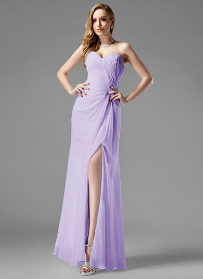 Sheath/Column Sweetheart Floor-Length Chiffon Holiday Dress With Ruffle Split Front