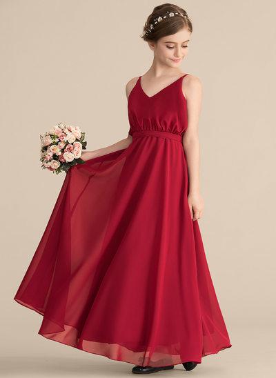 A-Linie/Princess-Linie V-Ausschnitt Bodenlang Chiffon Kleid für junge Brautjungfern mit Schleife(n)