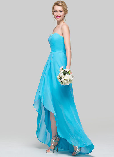A-Line/Princess Sweetheart Asymmetrical Chiffon Prom Dresses With Ruffle
