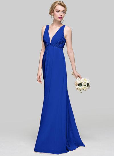 Çan/Prenses V yaka Uzun Etekli Şifon Mezuniyet Elbisesi Ile Büzgü boncuklu kısım Payetler Yaylar)