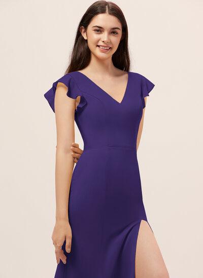 Платье-чехол V-образный Длина до пола шифон Платье Подружки Невесты с Разрез спереди