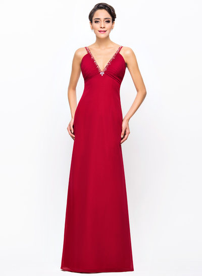 Sheath/Column V-neck Floor-Length Chiffon Evening Dress With Ruffle Beading Sequins