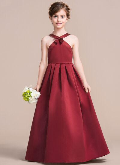 A-Line V-neck Floor-Length Satin Junior Bridesmaid Dress With Bow(s)