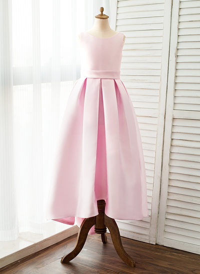 Ball Gown Sweep Train Flower Girl Dress - Satin Sleeveless Straps