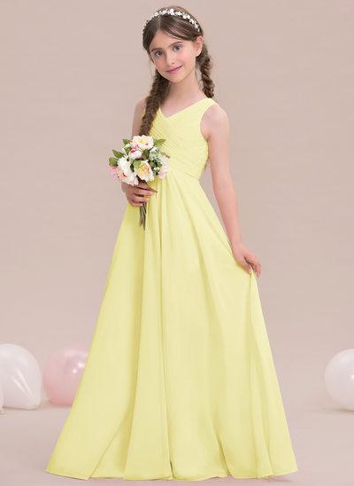 Princesový V-Výstřihem Délka na zem Šifón Šaty pro mladou družičku S Volán