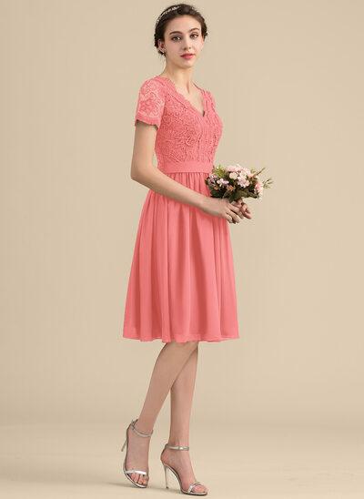 A-Line/Princess V-neck Knee-Length Chiffon Lace Bridesmaid Dress