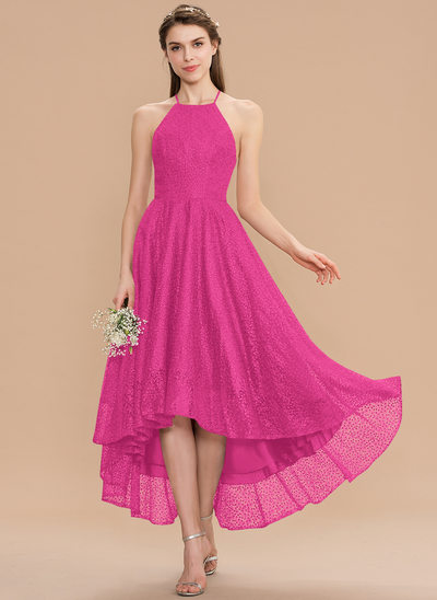 A-Line Scoop Neck Asymmetrical Lace Bridesmaid Dress