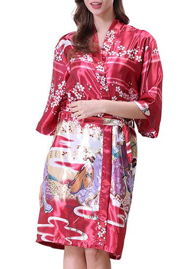 la mariée Demoiselle d'honneur charmeuse avec Longueur genou Robes florales