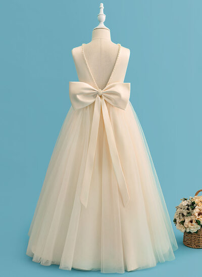 Ball-Gown/Princess Floor-length Flower Girl Dress - Satin/Tulle Sleeveless Scoop Neck With Beading/Bow(s)