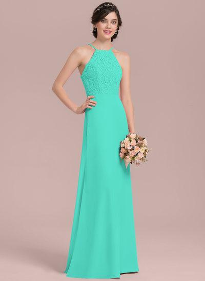 A-Line/Princess Scoop Neck Floor-Length Chiffon Lace Bridesmaid Dress