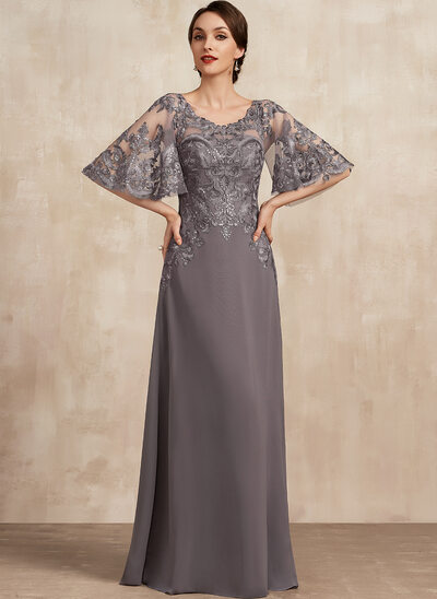 A-Line Scoop Neck Floor-Length Chiffon Lace Mother of the Bride Dress With Sequins