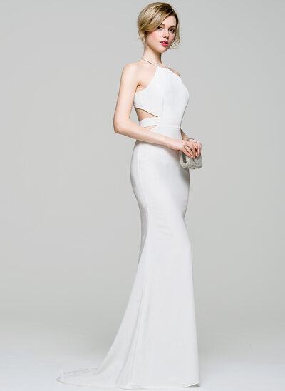 Trumpet/Mermaid Scoop Neck Sweep Train Stretch Crepe Evening Dress