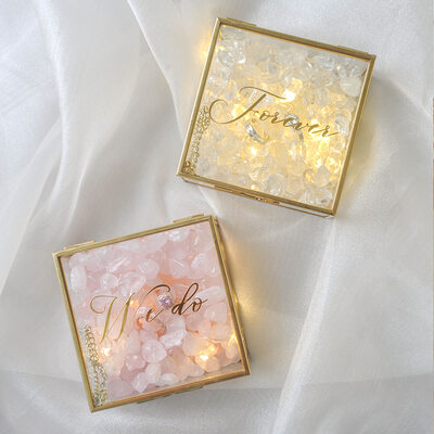 花嫁のギフト - 個別の 魅惑的な デカール ガラス クリスタル 花 リングホルダー