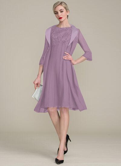A-Linie/Princess-Linie U-Ausschnitt Knielang Chiffon Spitze Kleid für die Brautmutter mit Rüschen