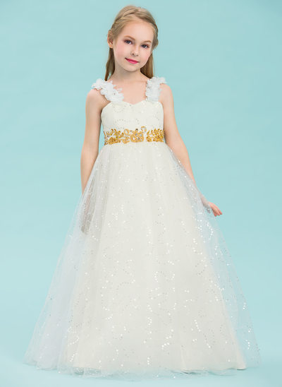 A-Line/Princess Floor-length Flower Girl Dress - Satin/Tulle Sleeveless Sweetheart With Beading/Appliques/Flower(s)/Sequins