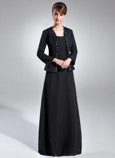 Forme Princesse Encolure carrée Longueur ras du sol Mousseline de soie Robe de mère de la mariée avec Brodé Paillettes