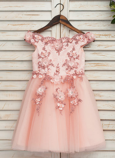 A-Line/Princess Knee-length Flower Girl Dress - Tulle/Lace Sleeveless Off-the-Shoulder With Appliques