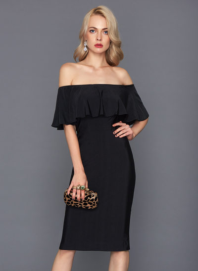 Sivu Off--Shoulder Polvipituinen Jersey Cocktail-mekko