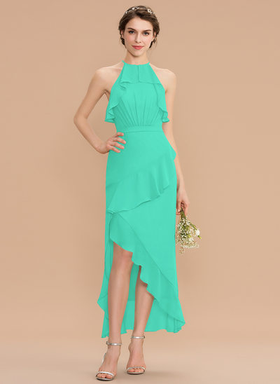 A-Line Scoop Neck Asymmetrical Chiffon Bridesmaid Dress With Cascading Ruffles