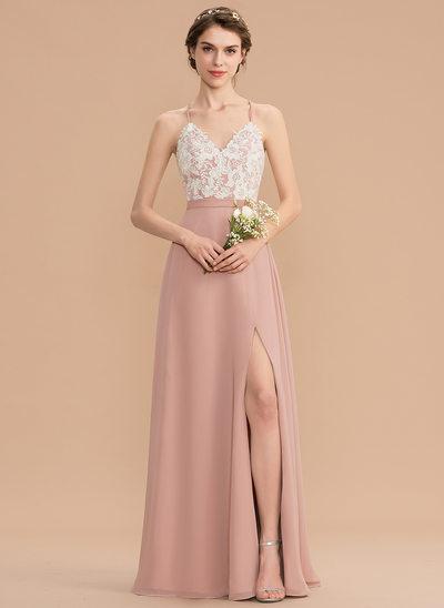 Corte A Decote V Longos Tecido de seda Renda Vestido de madrinha com Frente aberta