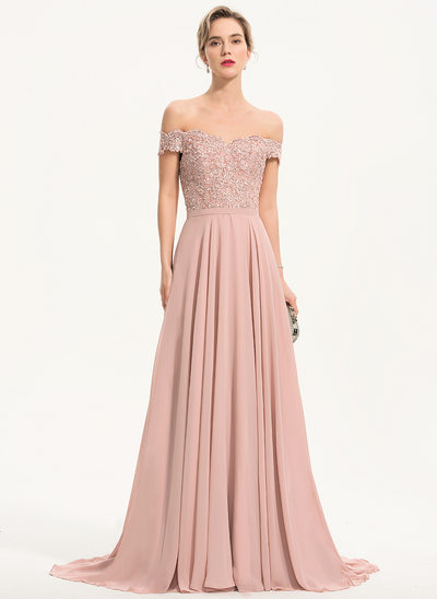 A-Line Off-shoulder Sweep/Brush train Chiffon Aftenkjole med Perlebesat pailletter