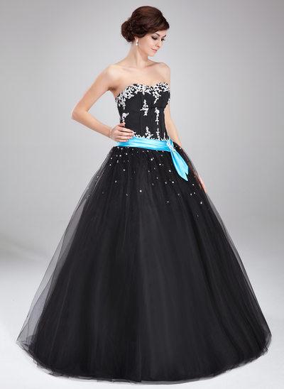 Corte de baile Escote corazón Hasta el suelo Tul Vestido de quinceañera con Fajas Bordado Los appliques Encaje