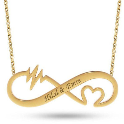 Custom 18k Gold Plated Infinity Two Name Necklace Engraved Necklace With Heart
