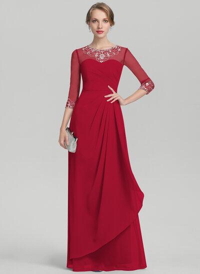 A-Linie U-Ausschnitt Bodenlang Chiffon Kleid für die Brautmutter mit Perlstickerei Pailletten Gestufte Rüschen