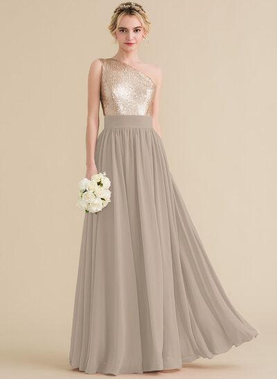 A-Line/Princess One-Shoulder Floor-Length Chiffon Sequined Prom Dresses