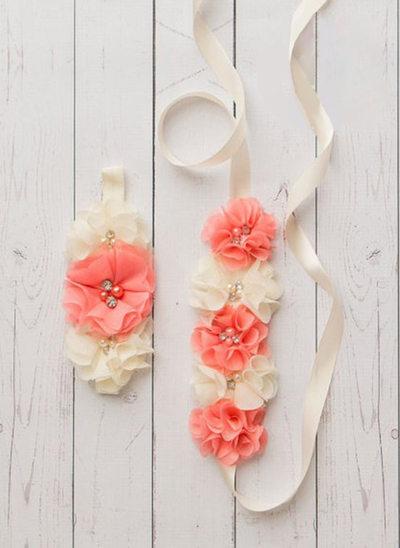 Elegant/Blomsterpige Satin Bælterem med pandebånd