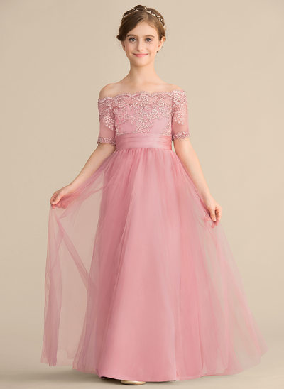 A-Line/Princess Off-the-Shoulder Floor-Length Tulle Lace Junior Bridesmaid Dress With Bow(s)
