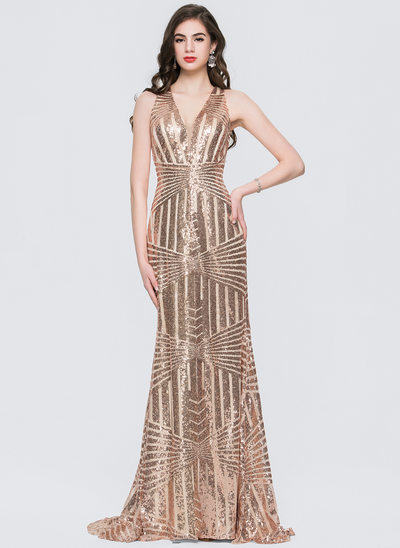 Trumpet/Mermaid V-neck Sweep Train Sequined Prom Dress
