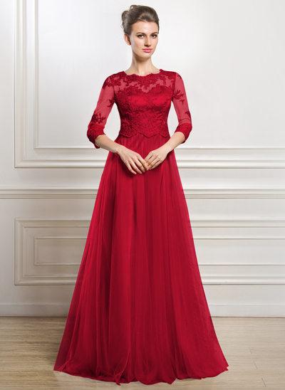 A-Linie/Princess-Linie U-Ausschnitt Bodenlang Tüll Kleid für die Brautmutter mit Perlstickerei Applikationen Spitze Pailletten