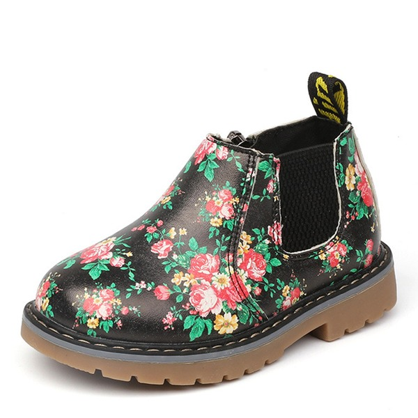 Girl's Closed Toe Leatherette Flat Heel Flats Boots With Flower