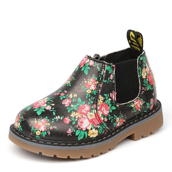 Pigens Lukket Tå Leatherette Flad Hæl Fladsko Støvler med Blomst