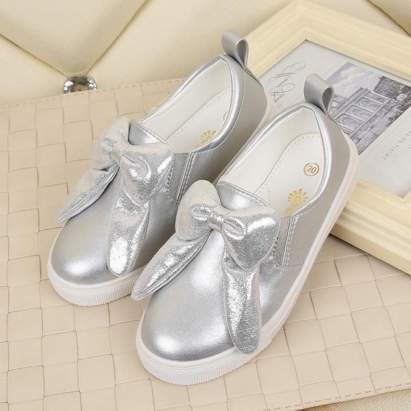 Girl's Closed Toe imitatieleer Flat Heel Flats met strik