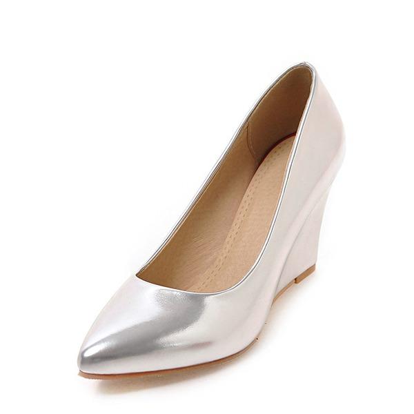Mulheres Couro Brilhante Plataforma Fechados Calços com Outros sapatos