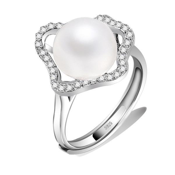 Senhoras Elegante 925 prata esterlina com Rodada Anéis Ela/Amigos/Menina das flores