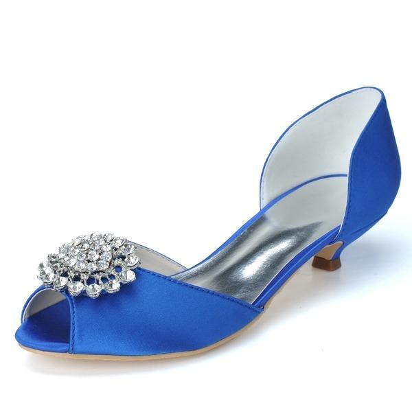 Women's Satin Kitten Heel Peep Toe Pumps With Rhinestone