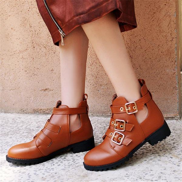 Femmes PU Talon plat Chaussures plates Bottes أحذية