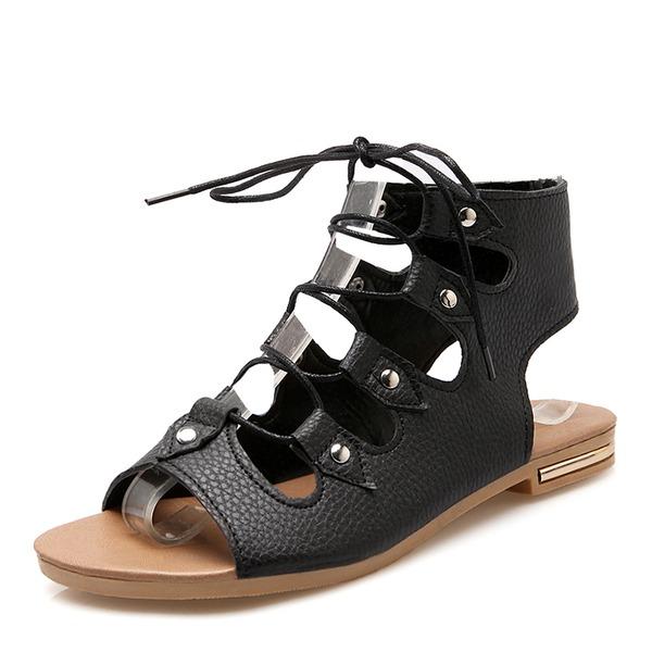 Mulheres Couro Sem salto Sandálias com Aplicação de renda sapatos