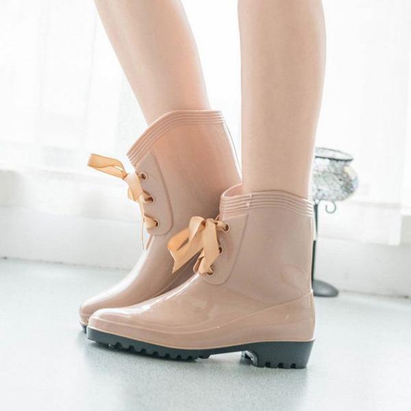 Frauen PVC Niederiger Absatz Geschlossene Zehe Stiefel Stiefelette mit Zuschnüren Schuhe