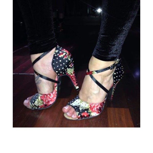 Mulheres Cetim Saltos Latino com Strass Laço de cetim Sapatos de dança