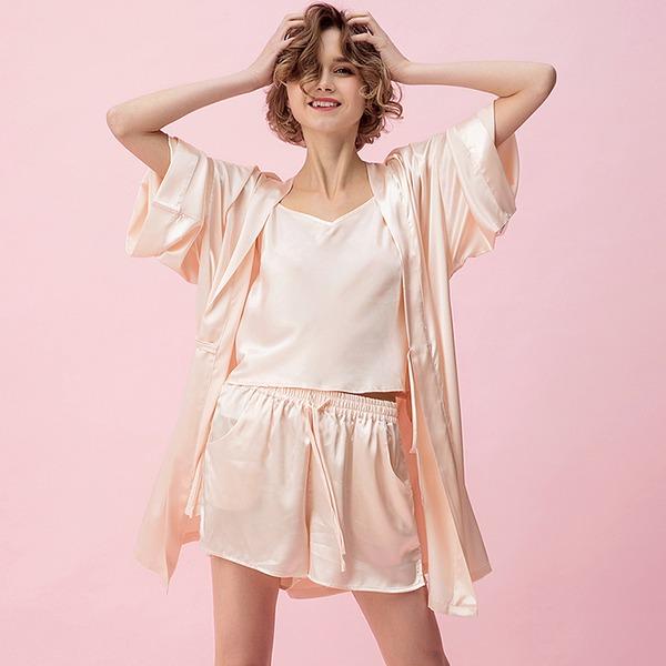 Fibra de viscose Clássico Feminino pijamas set